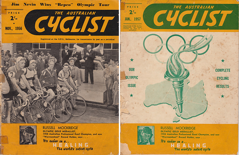 """Left: Our Olympic road team lining up for the start of the world's richest Amateur road race, the """"Repco"""" Olympic Tour. From left, the winner, Jim Nevin; Jim Nestor, John Trickey, John O'Sullivan. Right: Olympic edition cover of Australian Cyclist magazine from 1957."""