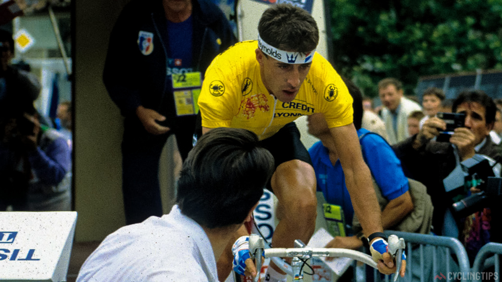 Rolling out the start ramp in 1989 prologue in the leaders jersey, even with great form Delgado suffered a few set-backs, including missing his start time. Eventually finishing third behind a victorious Greg LeMond and second place Laurent Fignon.