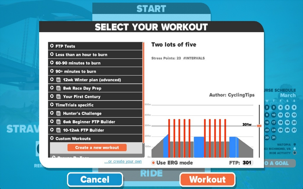 The workout I whipped up in a few minutes.