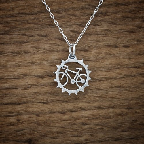 take your bike with you whereever you go with this silver necklace charm from Little Devil Designs http://www.amazon.com/Bicycle-Charm-Chainring-Sterling-Necklace/dp/B018FK0376/ref=sr_1_2?m=A1SO0RCWXKBAST&s=handmade&ie=UTF8&qid=1450208339&sr=1-2