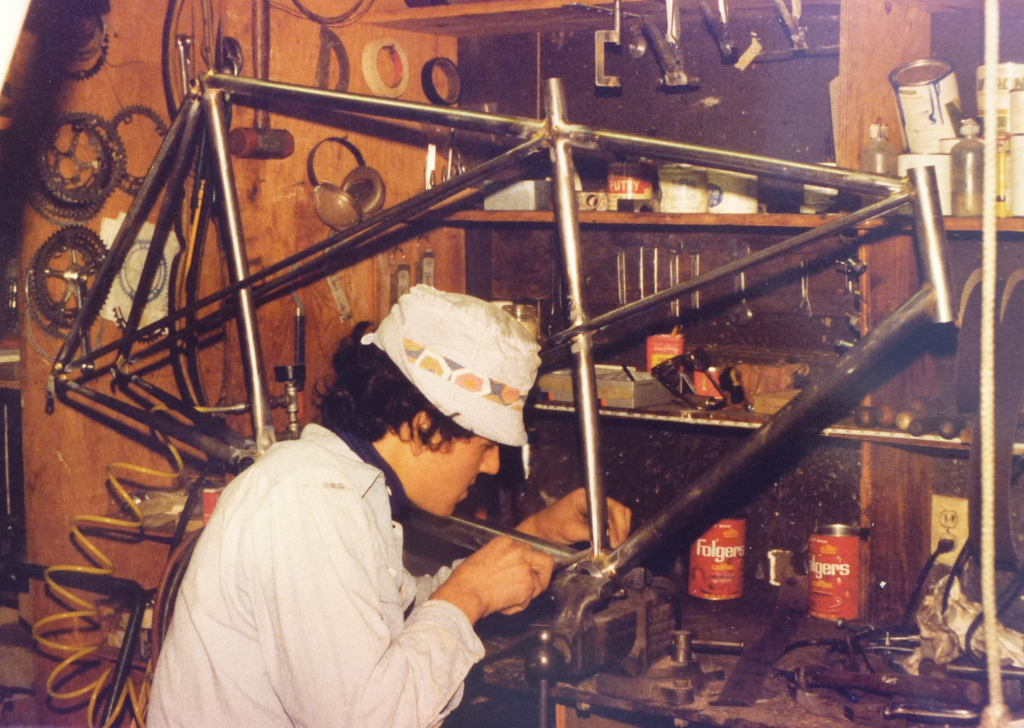 Building one of the early tandems, a frame that he now has many of.