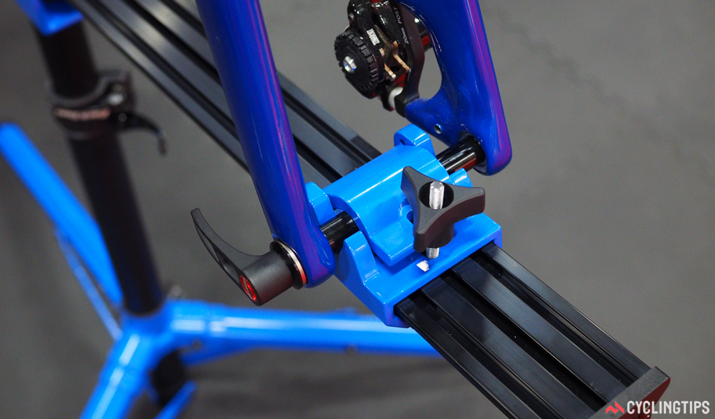 The three-position pivot on the Park Tool Euro-style repair stand works for 12, 15, and 20mm thru-axles. Quick-release dropouts fit, too, with the included insert.