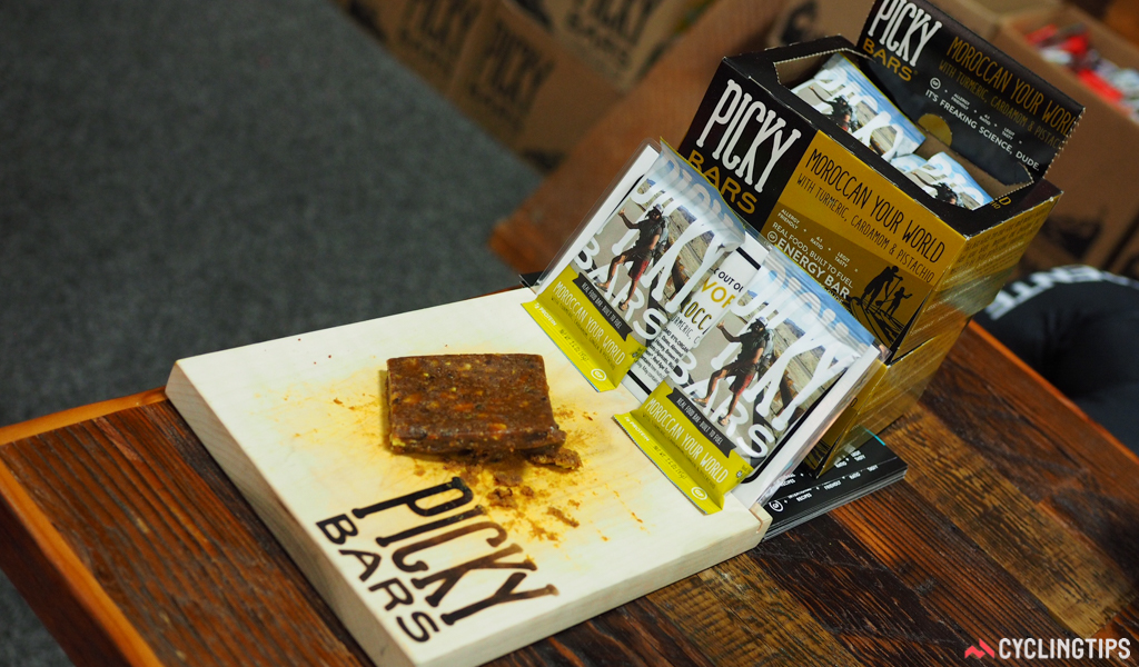 Picky Bars was founded by three pro athletes who were seeking natural, real-food options to eat on-the-go during workouts. All eight flavors use dates and brown rice cereal as a base, and they're also all gluten, dairy, soy, and GMO-free. This one – called Moroccan Your World – was perhaps my favorite during a rather extended tasting session, loaded with flavorful cardamom, turmeric, ginger, and pistachio. So, so tasty.