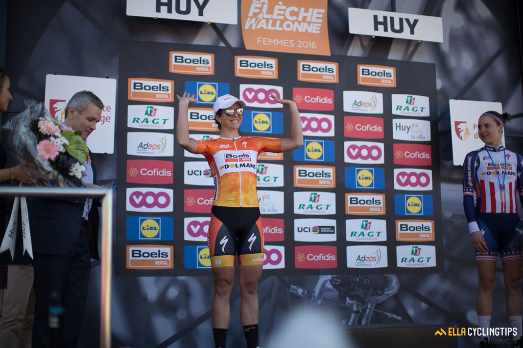 Megan Guarnier looks on as Boels-Dolmans teammate and fellow American Evelyn Stevens gets presented as the number 2 of the race.