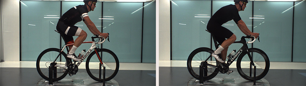 """Aerodynamic wind mapping of the two equipment set-ups. Left: the """"Traditional"""" set-up using a Tarmac, Roval 40mm carbon wheels, typcical kit, Prevail helmet. Right: """"Aero"""" set-up using the Venge ViAS, Evade helmet, Evade Skinsuit."""