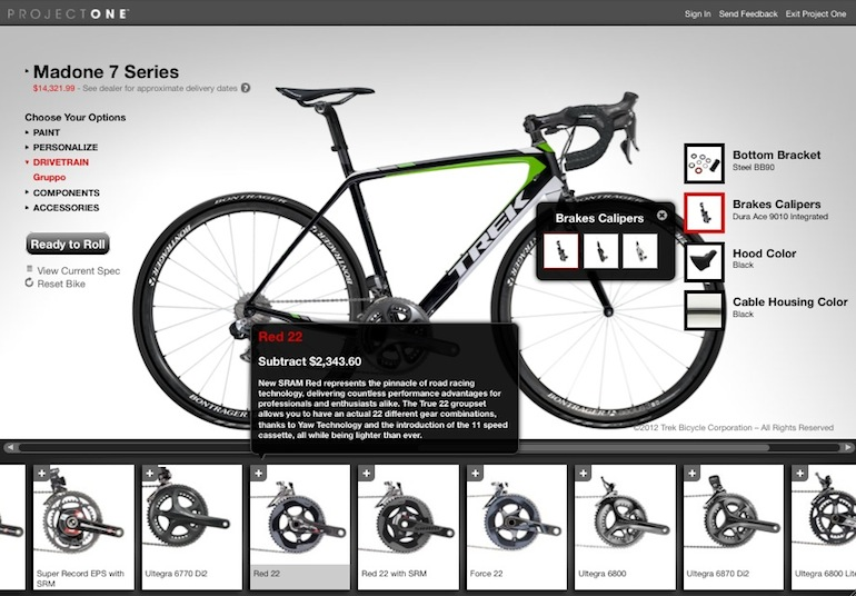 The Project One program offers and endless number of paint and spec possibilities, so RRP's will widely vary. When you are building your Project One on Trek's site, it calculate the RRP, and gives an indication on how a change will affect the price.