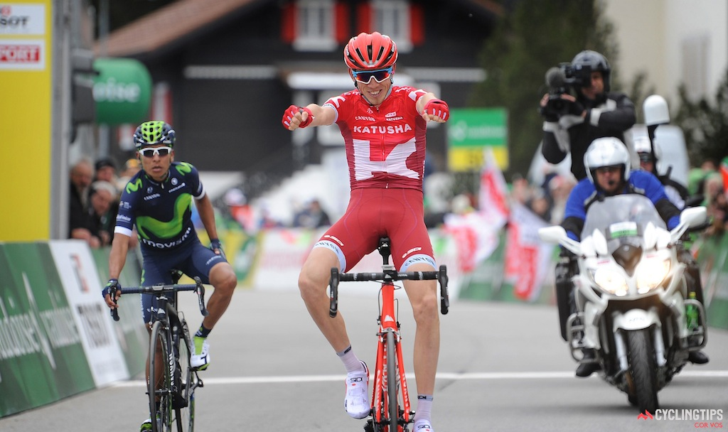 Zakarin hit the line first on stage 2 of the Tour de Romandie but was later relegated.