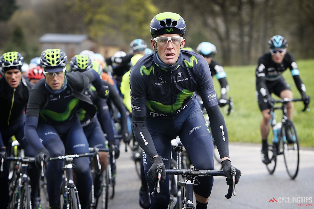 Rory Sutherland seemed to spend several hours on the front of the bunch, controlling the race for Movistar.