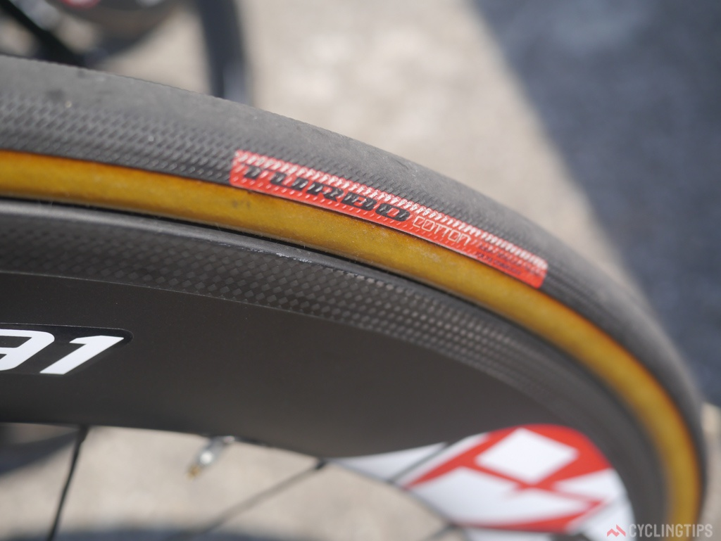 Specialized Turbo tubulars where what Sagan rolls on during the Time Trails. These were released at last years tour and seem to have not been updated yet.