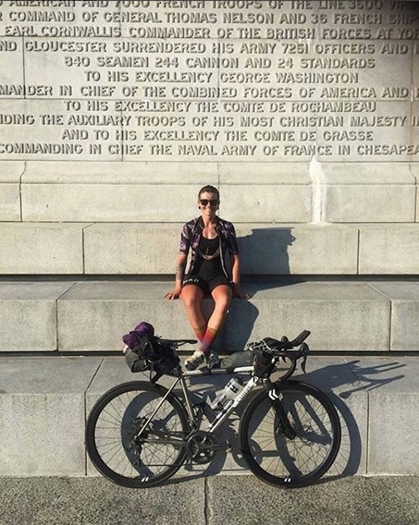 Sarah Hammond on the Yorktown Victory Monument after finishing