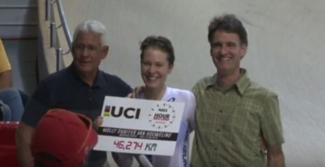 The new women's world hour record set by Molly Shaffer Van Houweling.