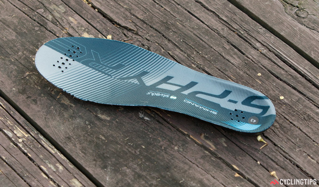 A more basic innersole is now included in Shimano's flagship race shoe.
