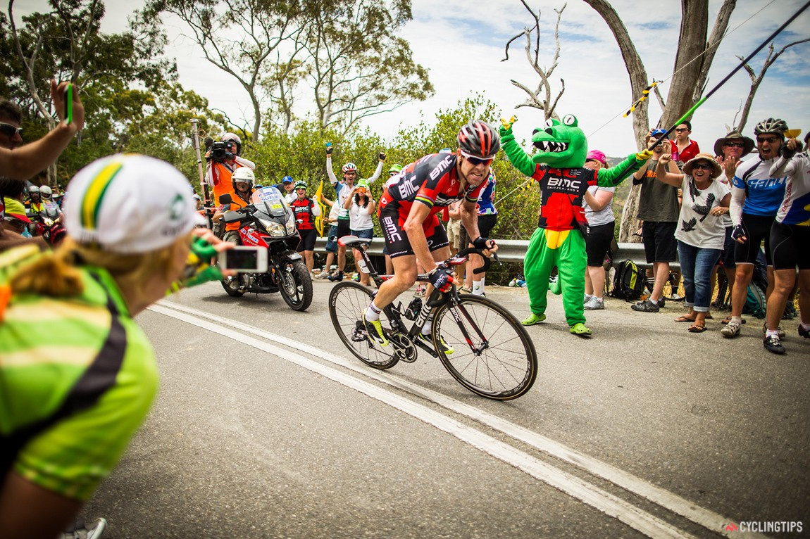 Cadel Evans on his way to winning stage 3 in 2014