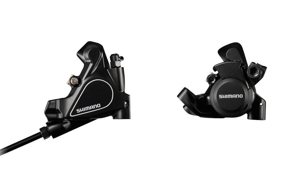Shimano's newest disc callipers for its Tiagra (left) and Sora (right) groupsets are devoted to the flat-mount format.
