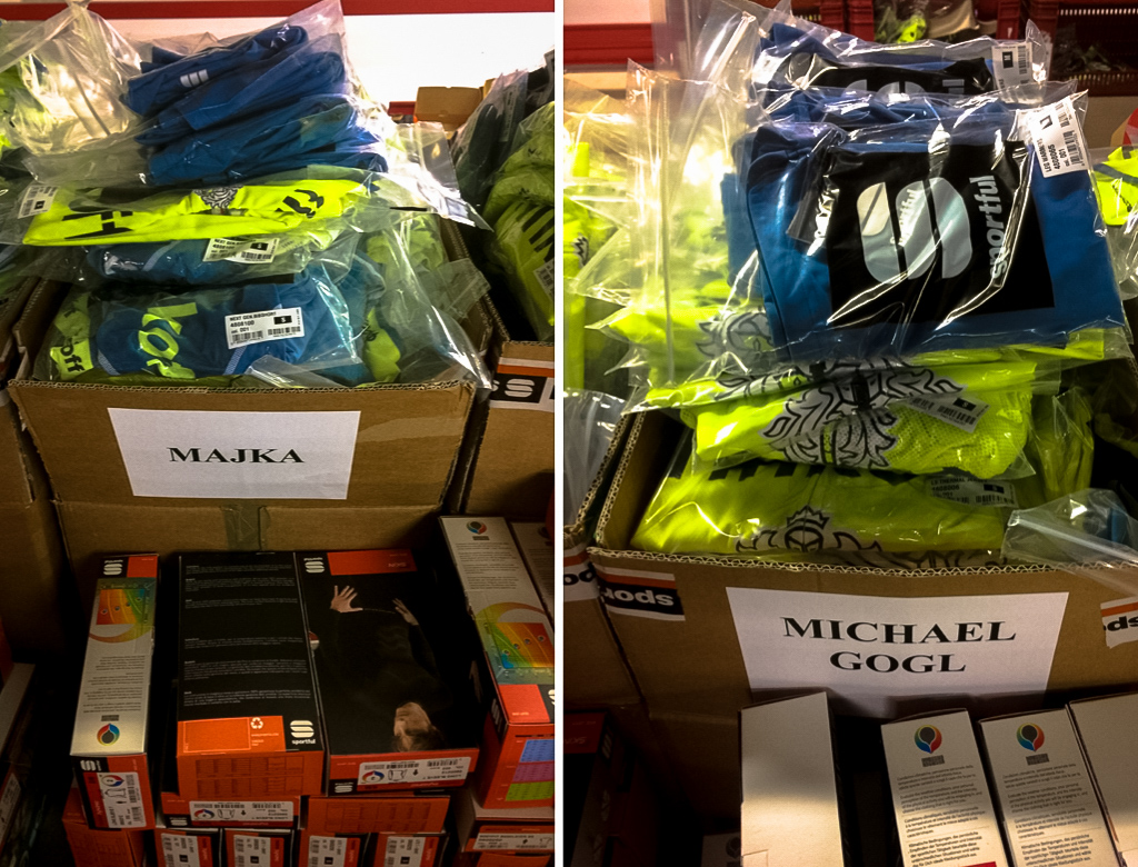 Boxes brimming wth new team kit for both Majka and Gogl of Tinkoff.