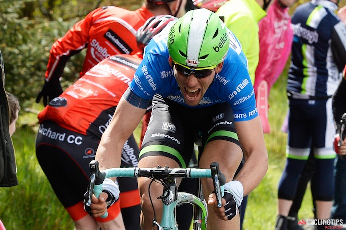 Maarten Tjallingii fighting for the maglia azzurra which he should be able to  keep until stage 8 or so.