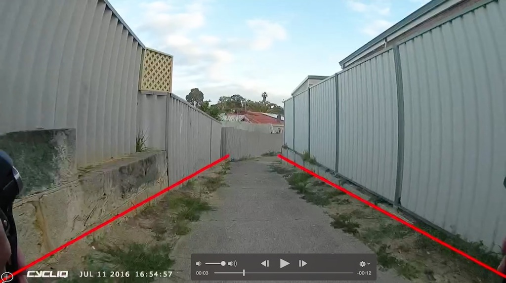 The only way to see the tramlines is after the fact when the CycliqPlus app can be used to overlay them on edited footage.