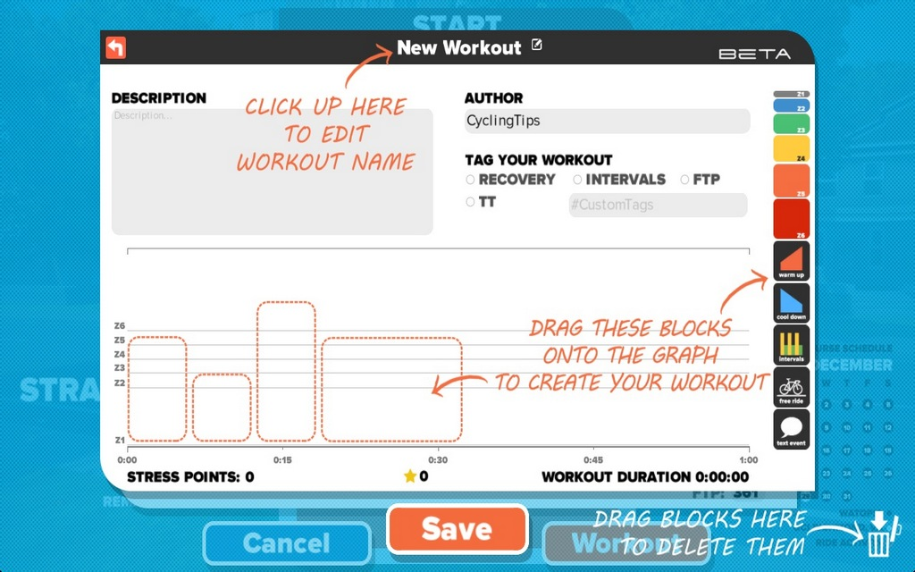 Creating custom workouts is quick and easy.
