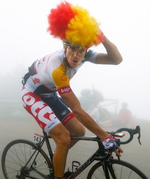 Hansen's antics during stage 20 of this year's Vuelta a Espana, his seventh Grand Tour in a row.