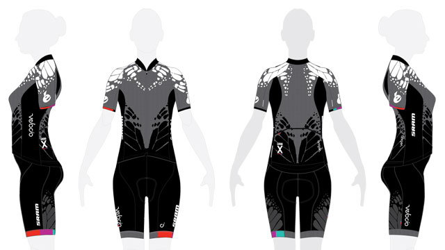 Scrymgeour's teams have long been one of the most distinctive in the peloton. This is an early image of the kit design Velocio-SRAM will use in 2015.