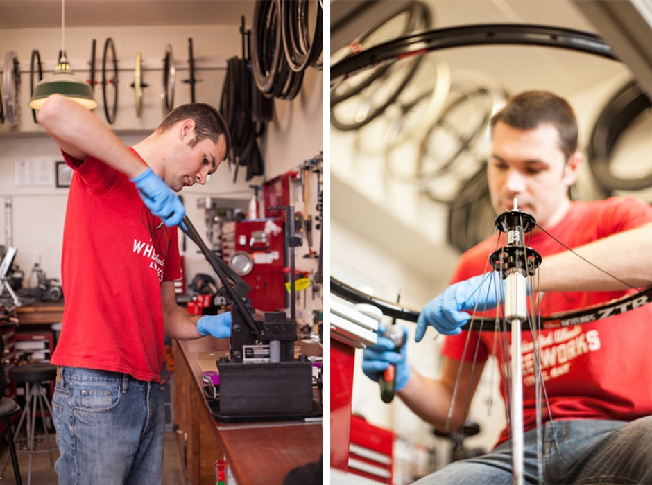 Tristan started Wheelworks on his own but in recent years added another set of hands as his business grew. Photo credit: Grant Kitto