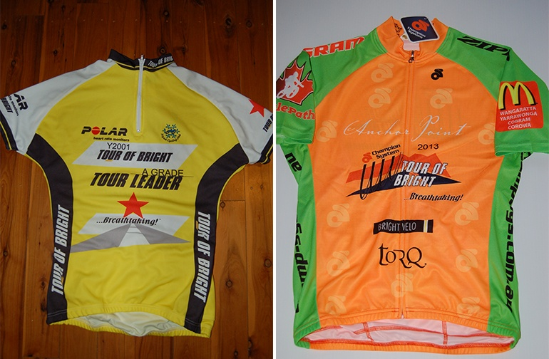 Tour of Bright winners jerseys, 2001 on the left, 2013 on the right.